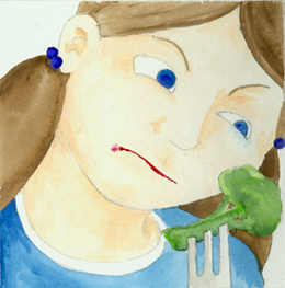 watercolor image of girl rightfully suspicious of broccoli